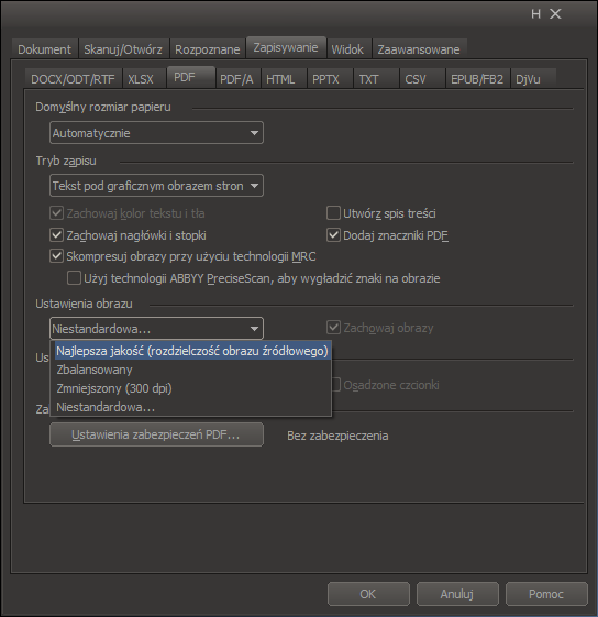 FineReader 12: Ustawienia zapisu PDF